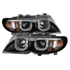 Spyder BMW E46 3-Series 02-05 4DR Projector Headlights 1PC 3D Halo Blk PRO-YD-BMWE4602-4D-3DDRL-BK