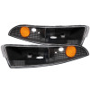 ANZO 1993-2002 Chevrolet Camaro Euro Parking Lights Black w/ Amber Reflector
