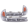 ANZO 1997-2004 Dodge Dakota Euro Parking Lights Chrome w/ Amber Reflector