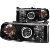 ANZO 1994-2001 Dodge Ram Projector Headlights w/ Halo Black