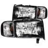 ANZO 1994-2001 Dodge Ram Crystal Headlights Black