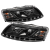 Spyder Audi A6 05-07 Projector Headlights Halogen Model Only - DRL Black PRO-YD-ADA605-DRL-BK
