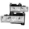 ANZO 1988-1998 Chevrolet C1500 Crystal Headlights Chrome
