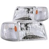 ANZO 1993-1997 Ford Ranger Crystal Headlights Chrome w/ Corner Lights 2pc