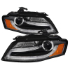 Spyder Audi A4 09-12 Projector Headlights Halogen Model Only - DRL LED Black PRO-YD-AA408-DRL-BK
