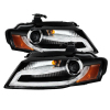 Spyder Audi A4 09-12 Projector Headlights Xenon/HID Model Only - DRL LED Blk PRO-YD-AA408-HID-DRL-BK