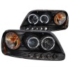 ANZO 1997.5-2003 Ford F-150 Projector Headlights w/ Halo and LED Black 1pc