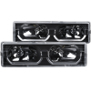 ANZO 1988-1998 Chevrolet C1500 Crystal Headlights Black w/ Low - Brow