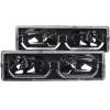 ANZO 1988-1998 Chevrolet C1500 Crystal Headlights Black w/ Low - Brow