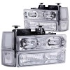 ANZO 1994-1998 Chevrolet C1500 Crystal Headlights w/ Halo Chrome w/ Signal and Side Marker Lights