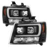 Spyder 07-14 Chevy Suburban/1500/2500/Tahoe V2 Projector Headlights Blk PRO-YD-CSUB07V2-DRL-BK