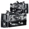 ANZO 1994-1998 Chevrolet C1500 Crystal Headlights Black