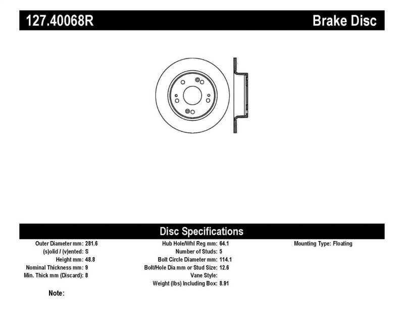 Stoptech SportStop Single Brake Rotor, Rear, 2013-17 Honda Accord (ALL), Drilled & Slotted, 127.40068R