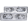 ANZO 1988-1998 Chevrolet C1500 Crystal Headlights Chrome w/ Low - Brow