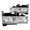 ANZO 1988-1998 Chevrolet C1500 Crystal Headlights Chrome w/o Bulbs