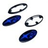 SMY Gloss Black Subaru Emblem Kits With Blue Stars