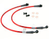 AP 09+ Hyundai Genesis Coupe Front Steel Braided Brake Line (Red Lines / Black Fittings)