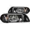 ANZO 1987-1993 Ford Mustang Crystal Headlights Black w/ Corner Lights 2pc