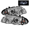 Spyder BMW E46 3-Series 99-01 4DR Projector 1PC LED Halo Amber Reflctr Chrm PRO-YD-BMWE46-4D-HL-AM-C