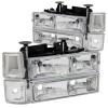 ANZO 1994-1998 Chevrolet C1500 Crystal Headlights Chrome w/ Signal and Side Marker Lights