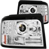 ANZO 1992-1996 Ford F-150 Projector Headlights w/ Halo Chrome w/ Side Markers and Parking Lights