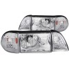 ANZO 1987-1993 Ford Mustang Crystal Headlights Chrome w/ Corner Lights 2pc