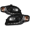 Spyder Audi A4 06-08 Projector Headlights Halogen Model Only - DRL Black PRO-YD-AA405-DRL-BK
