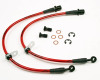 AP 08+ Subaru WRX / 08-10 STI Rear Steel Braided Brake Lines - Black Fittings/Red Housing