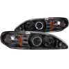 ANZO 1994-1998 Ford Mustang Projector Headlights w/ Halo Black 1pc