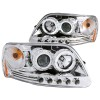 ANZO 1997.5-2003 Ford F-150 Projector Headlights w/ Halo and LED Chrome 1pc