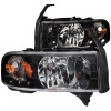 ANZO 1994-2001 Dodge Ram Crystal Headlights Black w/ LED